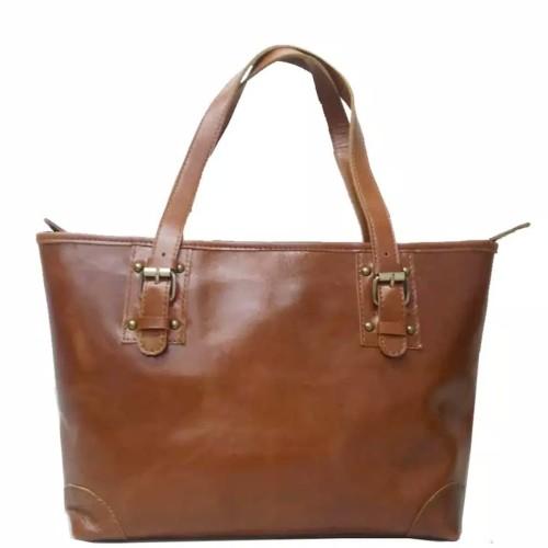 Foto Produk [L] Tote bag wanita kulit sapi asli polos coklat tas vintage korea dari Fashion Kulit Sapi Asli