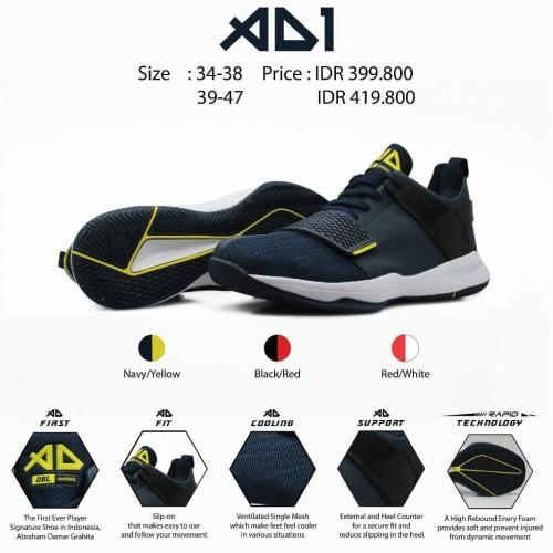 Foto Produk Ardiles DBL AD 1 I AD1 ABRAHAM Sepatu Basket 100% ORIGINAL - Navy Yellow, 38 dari Theater shoes