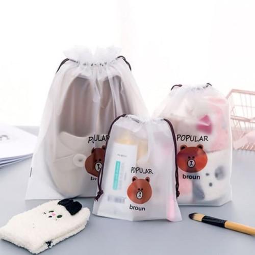 Foto Produk tas kosmetik multifungsi brown cosmetic travel bag bta418 - kecil dari Oila