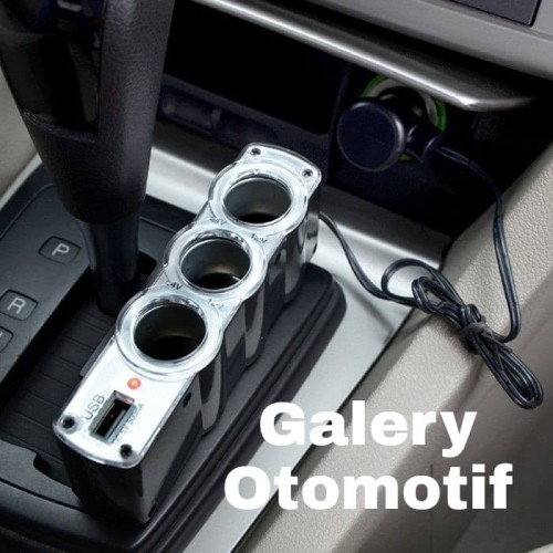 Foto Produk Colokan Car Charger Socket Output Cigarette Lighter 3 Port 1 USB dari Galery Otomotif