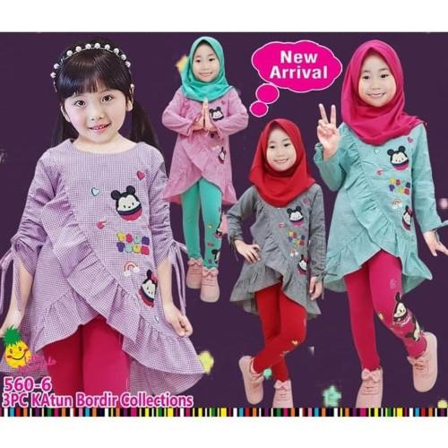 Foto Produk Baju Muslim Anak Perempuan Little Pineapple Tsum Katun Kotak Serut dari Franziska