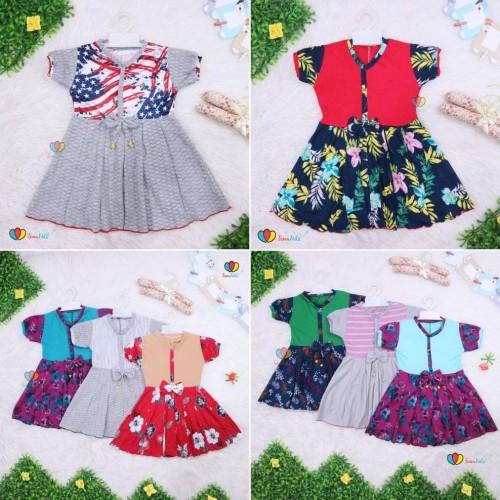 Foto Produk Dress Abc Uk 1-2 Th Balita Anak Perempuan Murah Baju Dres Batik Adem dari Franziska