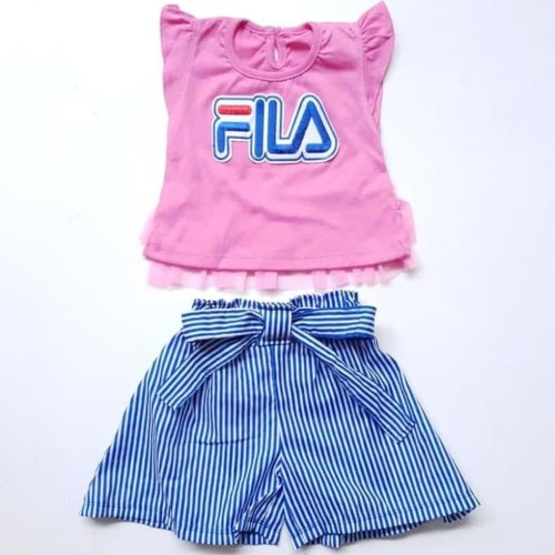 Foto Produk Baju Setelan Anak Bayi Perempuan Kaos Tutu Fila Celana Rok Katun Garis dari Franziska