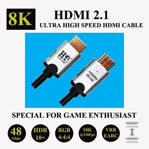 Foto Produk 2M Kabel HDMI To HDMI Versi 2.1 Ultra High Speed 8KX4K HINEIGHT ( H8 ) - 2 Meter dari Hineight ( H8 ) Official