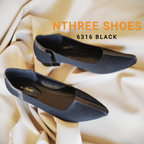 Foto Produk Sepatu teplek 6316, murah, premium, hitam, abu-abu muda, krem, cokelat - Hitam, 36 dari NTHREE SHOES