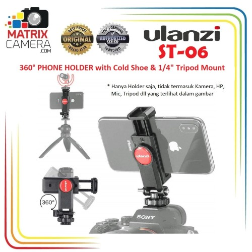 Foto Produk Ulanzi ST-06 360 Smartphone Phone Holder with Cold Shoe & Tripod Mount dari MatrixCamera