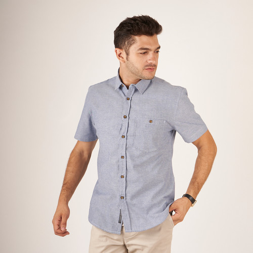 Foto Produk kemeja pria lengan pendek polos abu slim / baju casual pria pendek abu - Biru, M dari Brotherholicstore