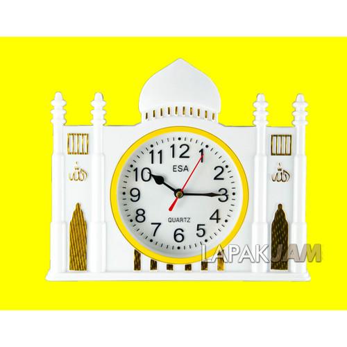 Foto Produk Jam Dinding Esa 348 Nuansa Islam Quartz Movement Dimensi 25x22cm Bagus - lis Kuning dari LapakJamShop