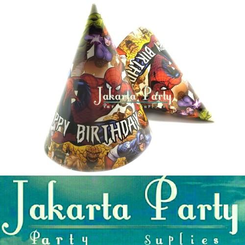 Foto Produk Topi Ultah Kerucut Spiderman / Topi Ultah Spiderman / Topi Ulang Tahun dari Jakarta Party