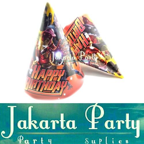 Foto Produk Topi Ultah Kerucut Avengers / Topi Ultah Avengers / Topi Ulang Tahun dari Jakarta Party