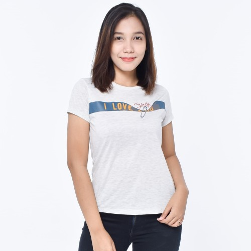 Foto Produk TEETIME 1012 T-Shirt casual Cewek Kaos Wanita katun Premium - Putih, M dari teetimeid