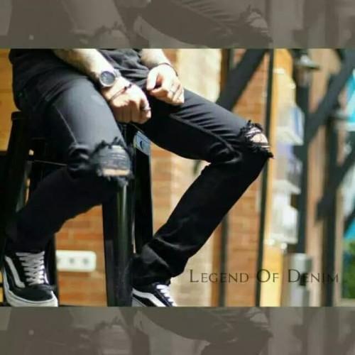 Foto Produk Knee Ripped jeans-celana sobek sobek Pria - Hitam, M dari Bari0elin Cloth Bandung