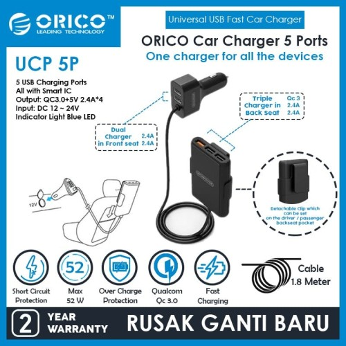 Foto Produk ORICO UCP-5P 52W 5 Port with Extension Cord Car Charger dari Supermassive Indonesia