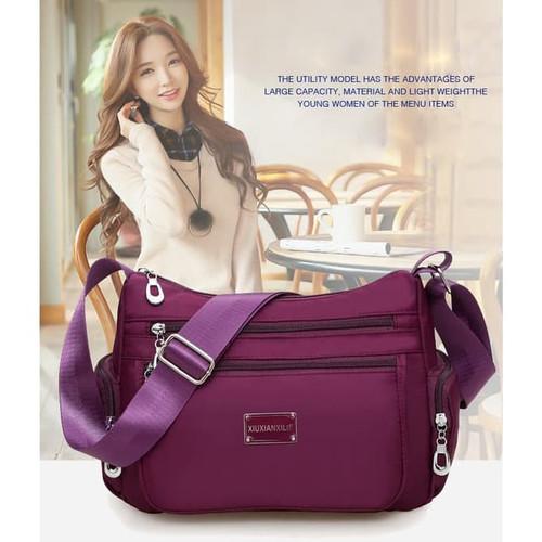 Foto Produk TS102 Multi zipper Women Waterproof Nylon Shoulder Bag / Tas Wanita - Ungu dari EnnWen Online Store