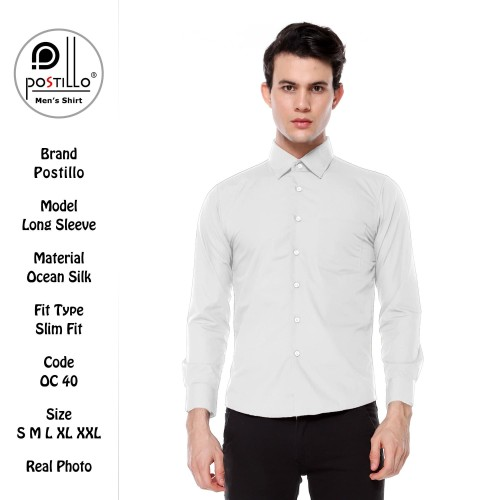 Foto Produk Kemeja Polos Formal Pria Ekslusif   Postillo   Lengan Panjang Putih - Dasi dari Kemeja Postillo