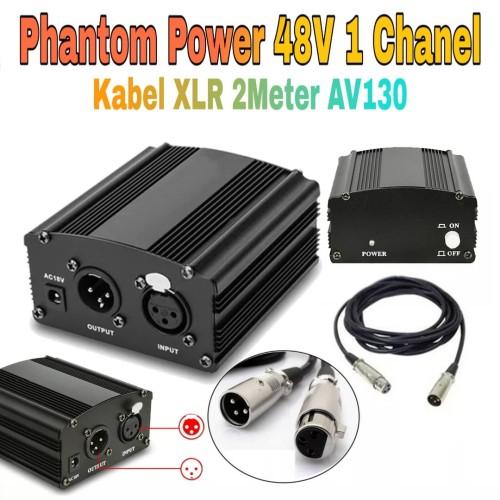 Foto Produk Phantom Power Supply 48V & Kabel XLR Male to Female for Mic Condenser dari Istana Glodok