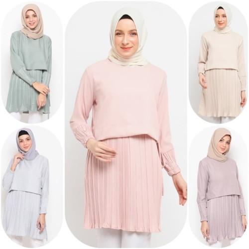 Foto Produk Baju Atasan Muslim Wanita Le Najwa Ines Tunik - GREY DUSTY dari Kamnco