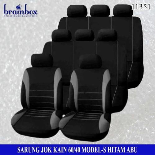 Foto Produk Sarung Jok Kain 3 Baris 60-40 Model-S Abu Sarung Jok Ertiga Calya APV dari Brainbox Car and Home