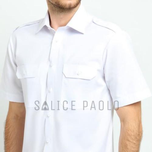 Foto Produk Kemeja Pilot Pria Salice Paolo setara Alisan Pendek Oxford Pangkat - Putih, S dari Mega Hero Shirts