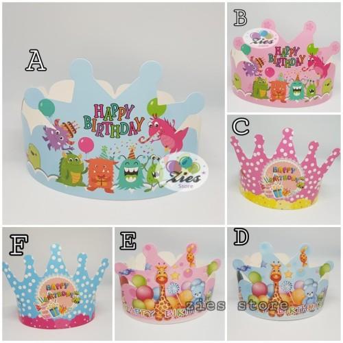Foto Produk Topi ulang tahun anak / topi happy birthday bentuk mahkota aneka motif dari Zies store
