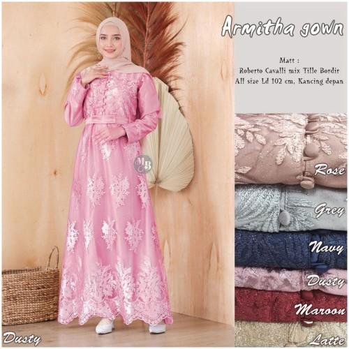 Foto Produk Baju dress gamis wanita cantik armitha gown tille bordir dari TABASAMA