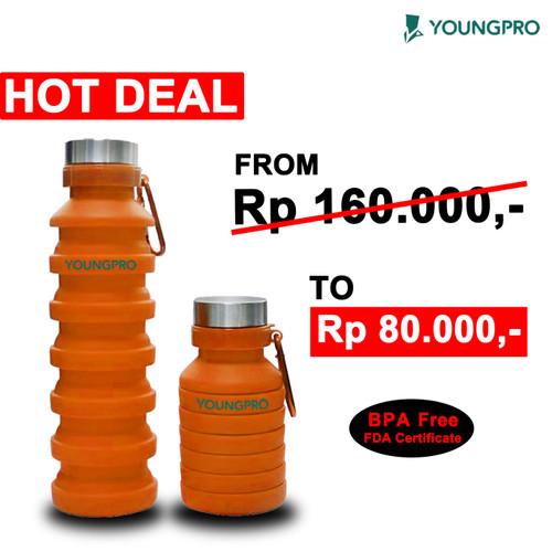 Foto Produk BOTOL MINUM LIPAT SILIKON FOLDING SILICONE BOTTLE TRAVEL OUTDOOR SPORT - Orange dari YOUNGPRO INDONESIA