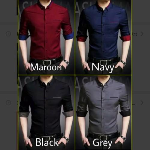 Foto Produk Kemeja pria terbaru | HEM lengan panjang warna hitam maron navy abu dari Rifa t-shirt