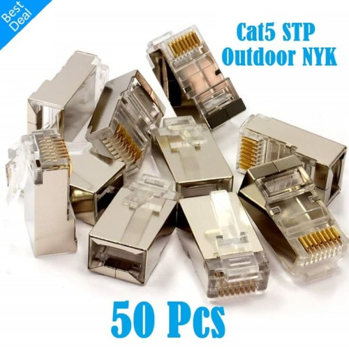 Foto Produk Konektor Rj45 STP Cat5 Outdoor Metal Pin Gold Plated dari Finel Computer Bintaro