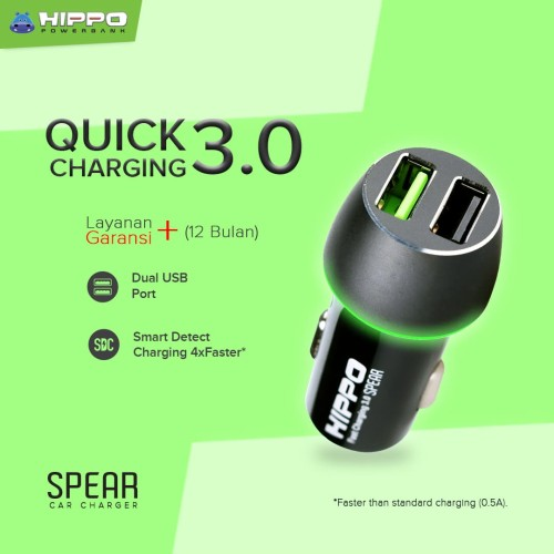 Foto Produk Hippo Spear Car Charger Mobil Fast Quick Charging 3.0 Simple Pack dari Hippo Power Bank