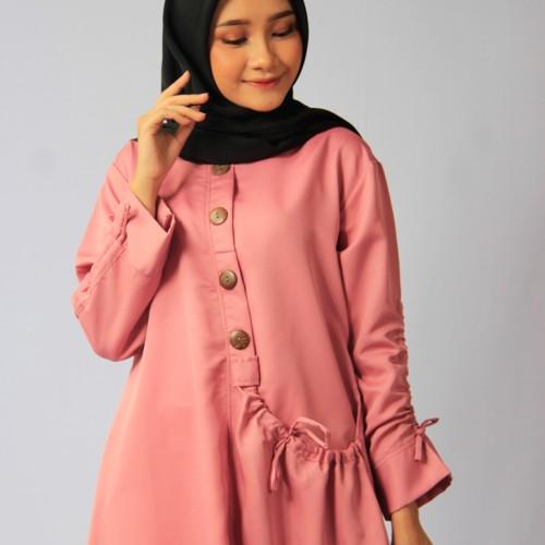 Foto Produk Blous | Baju Wanita | Baju Murah Tunik Kantong Dusty Pink dari ASNstore.id