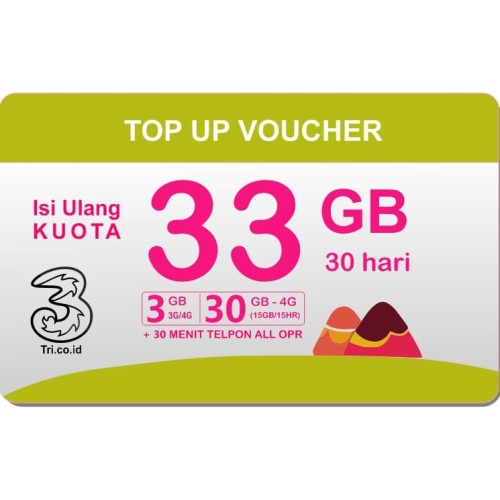 Jual Voucher Kuota Data 33gb 4g Lte Tri Three 3 Paket Data Internet Murah Kota Surabaya Nisrin Olshop Tokopedia