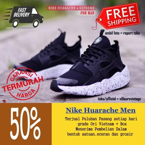 Sepatu Sneakers Pria Nike Huarache Men Import Murah Terlaris - Navy 39