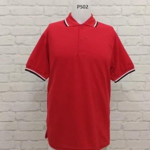 Foto Produk PROMO Polo Shirt Merah Lis Hitam Putih - Merah, M dari Raja Polo Shirt