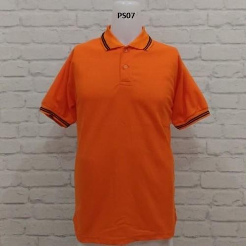 Foto Produk PROMO .POLO SHIRT ORANYE LIS HITAM - Orange, M dari Raja Polo Shirt