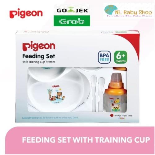 Foto Produk Peralatan Makan Bayi Pigeon PR050302 Feeding Set Dengan Training Cup dari Ni Baby Shop