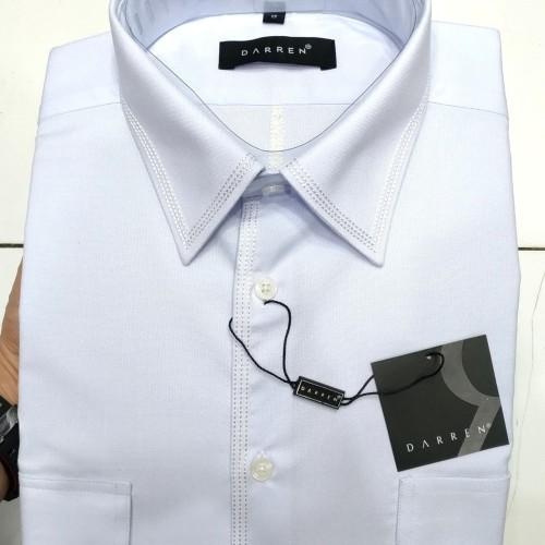 Foto Produk Kemeja Pria Putih Pendek Darren Reguler Non Pangkat Kantong Dua Bordir - Putih, S dari Mega Hero Shirts