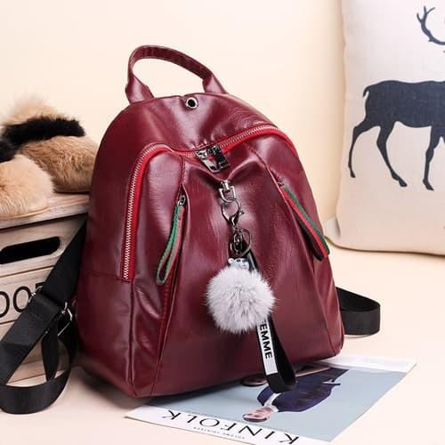 Foto Produk Ready Stok-Tas Backpack Pom2 Wanita Impor Termurah Sesuai Foto JT4110 - Hitam dari AlMirah Olshop