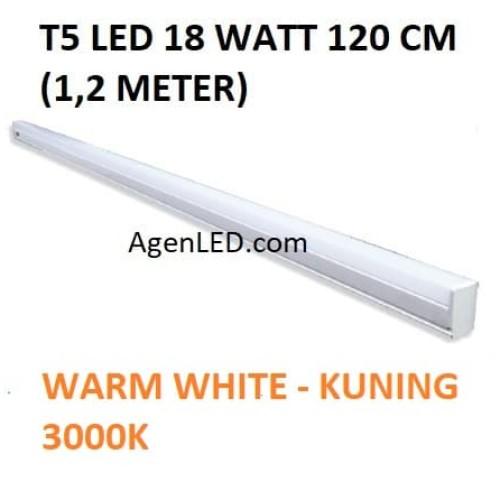 Foto Produk Lampu TL Neon T5 LED 18W 120cm Tube 120 cm 18 w watt WARM WHITE KUNING dari AgenLED