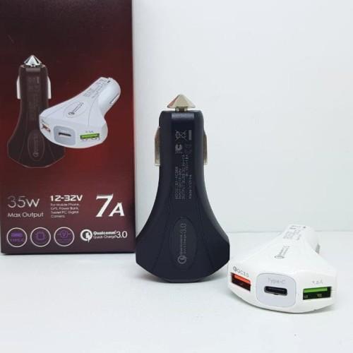 Foto Produk Car Charger QC 3.0A QUALCOMM 2 Output USB 1 Slot Type C FAST CHARGING dari Agen Aksesoris Hp