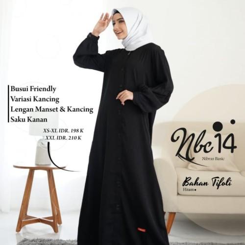 Foto Produk GAMIS MUSLIMAH NIBRAS NBC 14 BLACK - Hitam, XS dari assalam busana