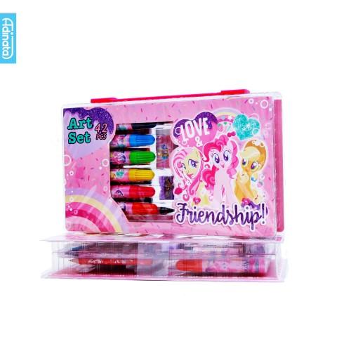 Foto Produk My Little Pony Art Set 42 pcs Adinata/ Alat Mewarnai / Crayon (Pink) dari ADINATA Official Store