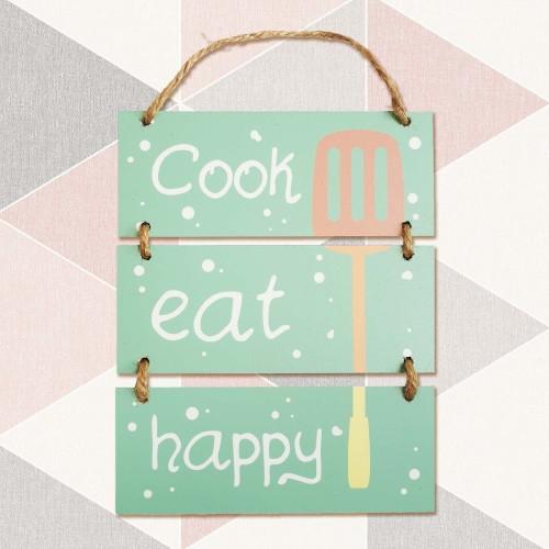 Foto Produk Hiasan Pajangan Dinding - COOK EAT HAPPY - Wall Sign Decor dari Nail_Your_Art