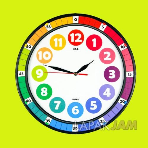 Foto Produk Jam Dinding Esa 334 Rainbow Sweep Movement Diameter 33.5cm New Edition - Hitam dari LapakJamShop