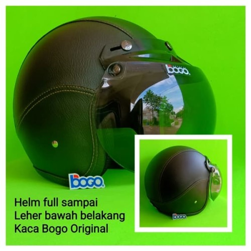 Foto Produk Helm Kulit Bogo Motif Full Black Kaca Bogo Original dari Qweens