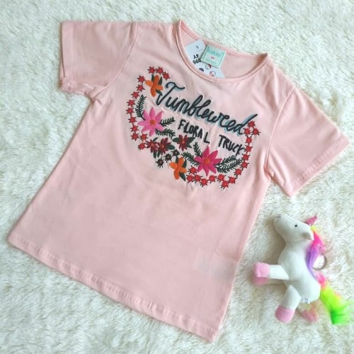 Foto Produk Embroidered Floral Tshirt - Pink / Kaos Floral Bordir - Pink - 3-4 tahun dari LITTLE DOVE CLOTHING