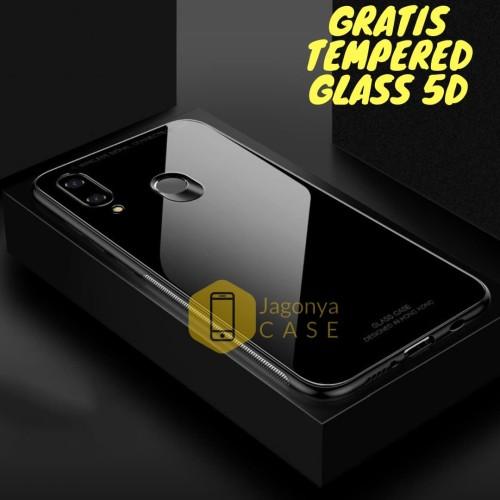 Foto Produk Samsung Galaxy M20 Case Luxury Tempered Glass Case FREE TEMPERED GLASS - Hitam dari Jagonya Case