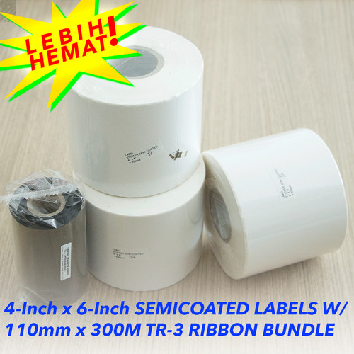 Foto Produk Paket Label Sticker Semicoated Uk 4Inch x 6Inch (Isi 500pcs) + Ribbon dari Gatasis Official Store