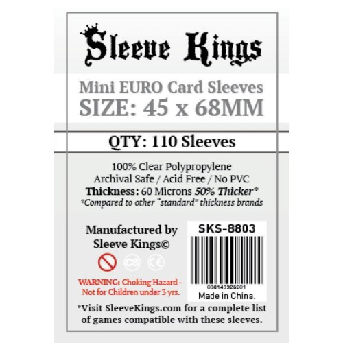 Foto Produk Sleeve Kings Mini Euro Card Sleeves (45x68mm) - 110 Pack, -SKS-8803 dari Toko Board Game