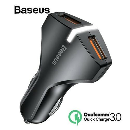Foto Produk Baseus Car Charger Dual USB Fast Charging QC 3.0 - Charger Mobil Motor dari penta mart