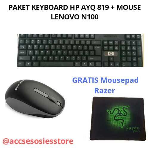 Foto Produk PAKET KEYBOARD HP AYQ819 USB+MOUSE LENOVO N100 WIRELLESS - Hitam dari @accsesosiesstore